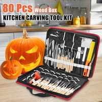 80Pcs Professional Sculpture Carving Tool with Portable Storage Bag Vegetable Food Fruit Carving Knife Set Kitchen Cooking Tools