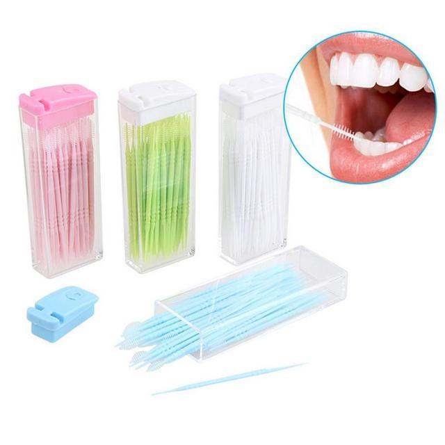 a36cedc06 Profissional Portátil 50 unidades pacote Dentes Fio Dental Palito De  Plástico Da Dobro-Cabeça
