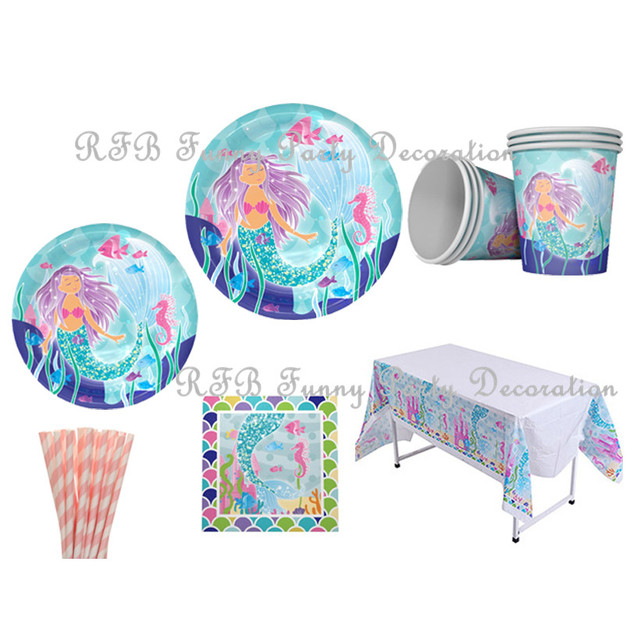 Mermaid Party Tableware Decoration Supplies Paper Plates Cups Napkins Straws Tablecloth Paper Pom Poms Tassel Garland