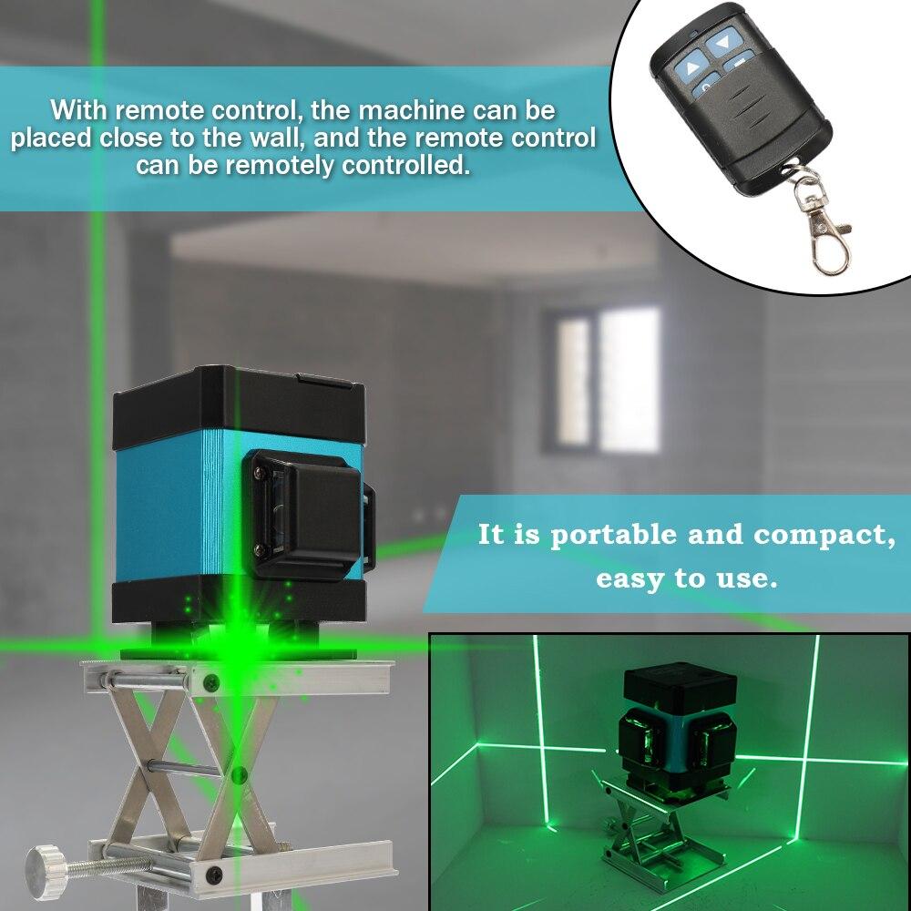 3D зеленый лазерный уровень 360 лазерный уровень устройства 12 линий строительные инструменты для пола стены украшение для лестниц с дистанци