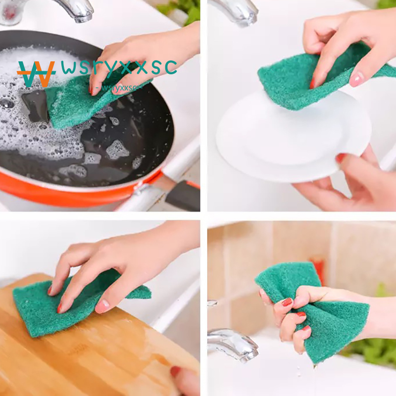 1pcs Kitchen Cleaning Dishwashing Eco-friendly Sponge Kitchen Green Honeycomb Pan Brush Cleaning Sponge Wipe #4a10 Household Cleaning Tools