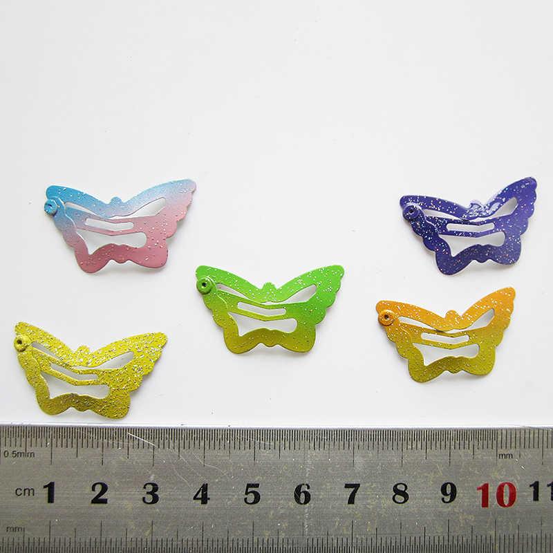 Красивые Детские пентаграмма заколки для волос блеск BB зажимы бабочкой цвета 12 шт./компл. детей асимптотические ярких цветов для девочек с принтом в виде звезд