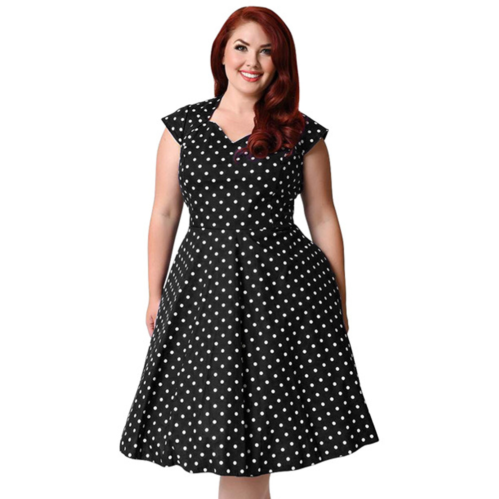 54f2890751642 🛒 Plus Size 9XL Hepburn Vintage Dress Women Polka Dot Print Pin Up ...
