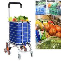 High Quality Superlight Travel Shopping Cart Aluminum Folding Swivel Wheel Grocery Laundry Cart Stainless Steel Max. Load 60 KG