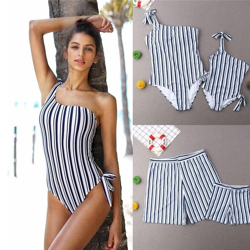 2019 Family Matching Swimwear Striped Swimsuit Parents Kids Bathing Suit Women Girls One Shoulder Monokini Men Boys Trunks