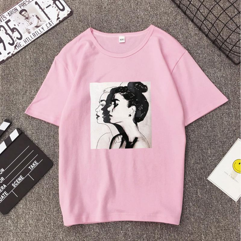 Fashion Girls' Print Short-sleeved T-shirt O-neck Spandex Soft Casual Tops For Summer Spring T-Shirts Female Clothing S-3XL Size