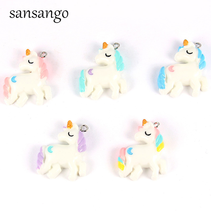 10 Pcs/pack Colorful Resin Unicorn Pendant Charms For Fashion Jewelry Findings Handmade Necklace Bracelets Girls For Improving Blood Circulation