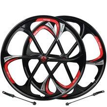 Mtb 6 Spaken Mountainbike Wielen Magnesiumlegering Wielen 26 Inch Mountain Fietswiel Fietsonderdelen Velgen