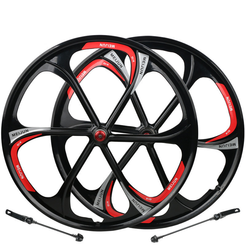 MTB <font><b>6</b></font> <font><b>spokes</b></font> mountain bike <font><b>wheels</b></font> magnesium alloy <font><b>wheels</b></font> 26 inches Mountain Bicycle <font><b>Wheel</b></font> parts bike rims image