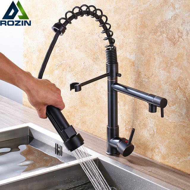 Deck Mounted Pull Down Chrome Black Kitchen Faucet Water Tap Single Handle Swivel Dual Spout Kitchen Sink Mixer Tap