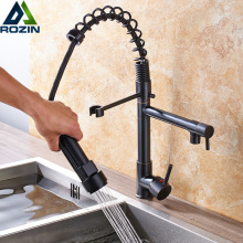 Black Kitchen Faucet Water-Tap Swivel Single-Handle Deck-Mounted-Pull-Down Dual-Spout