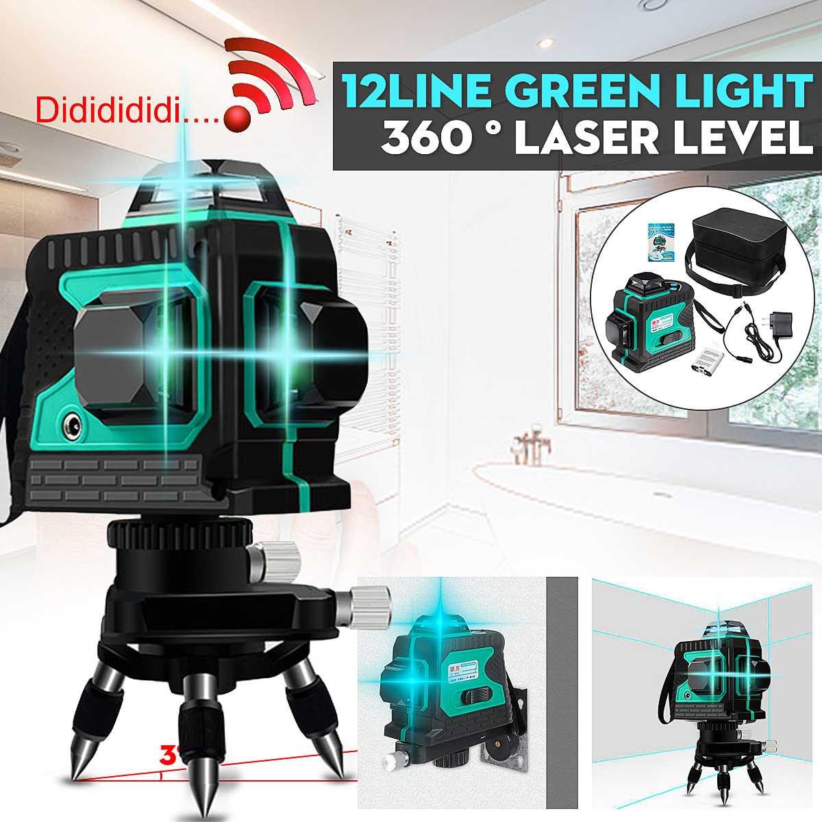 12 Line Laser Level Green Self Leveling 3D 360° Rotary Cross Measure Tool Tripod