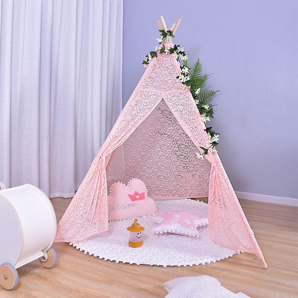 Tentes pour enfants Portable pliant luxe dentelle princesse château tente enfants maison de jeu indien Triangle tentes enfants cadeau
