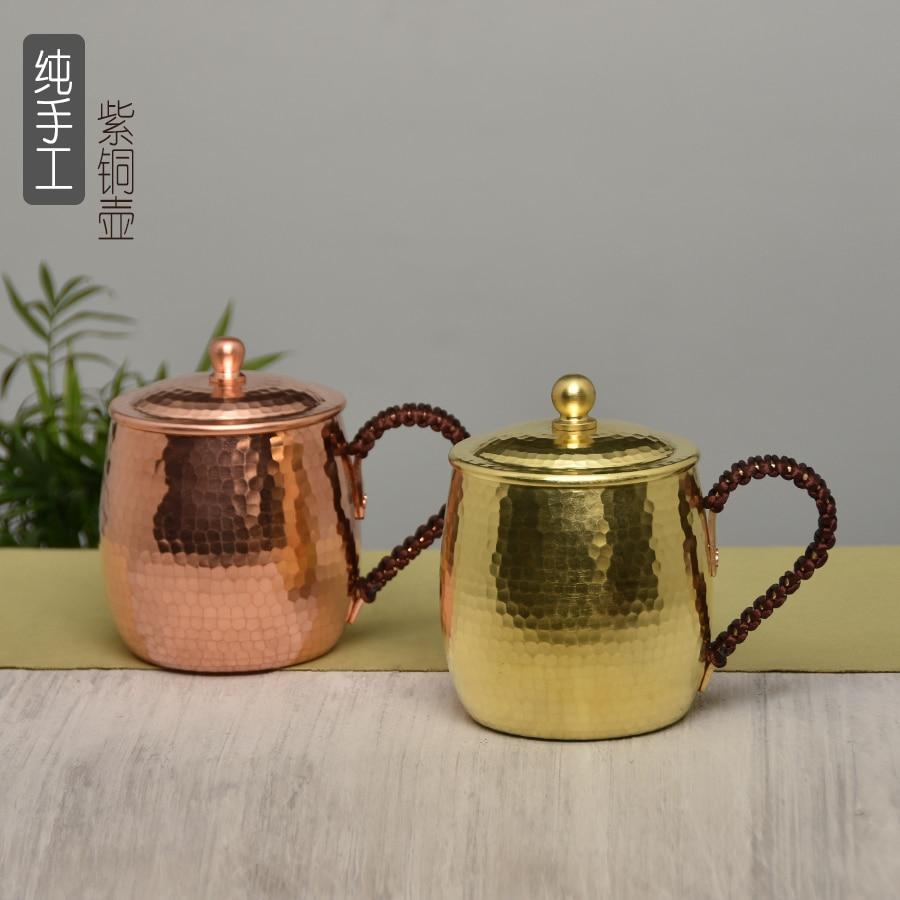 Rétro cuivre thé eau tasse à la main épaissi pur cuivre vaisselle lait bière café tasse voyage boisson