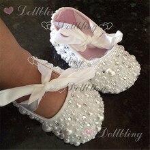 Крестины жемчуг стразы прозрачный кристалл детская обувь на заказ для покупателя белая лента матч Волшебное детство keepsake