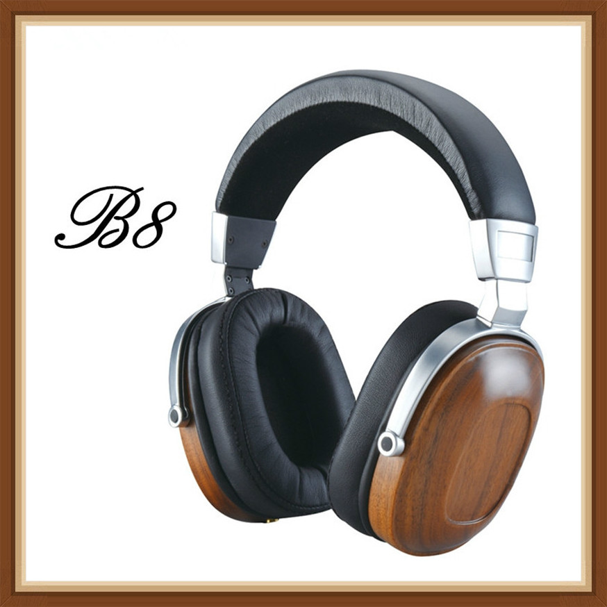 BLON BossHifi B8 HiFi Wooden Metal Headphone Black Mahogany Headset Earphone with Beryllium Alloy Driver and