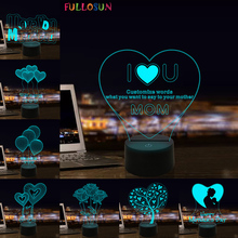 I Love You Mom LED 3D Illusion Night Light 7 Colors USB Desk Light Warm Gift Decoration lamp for mother's day present i love you valentine s day remote control night light