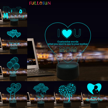 I Love You Mom LED 3D Illusion Night Light 7 Colors USB Desk Light Warm Gift Decoration lamp for mother's day present wedding decor i love you heart 3d optical illusion mood light 7 colors change luminaria lava lamp kids night light novelty gifts