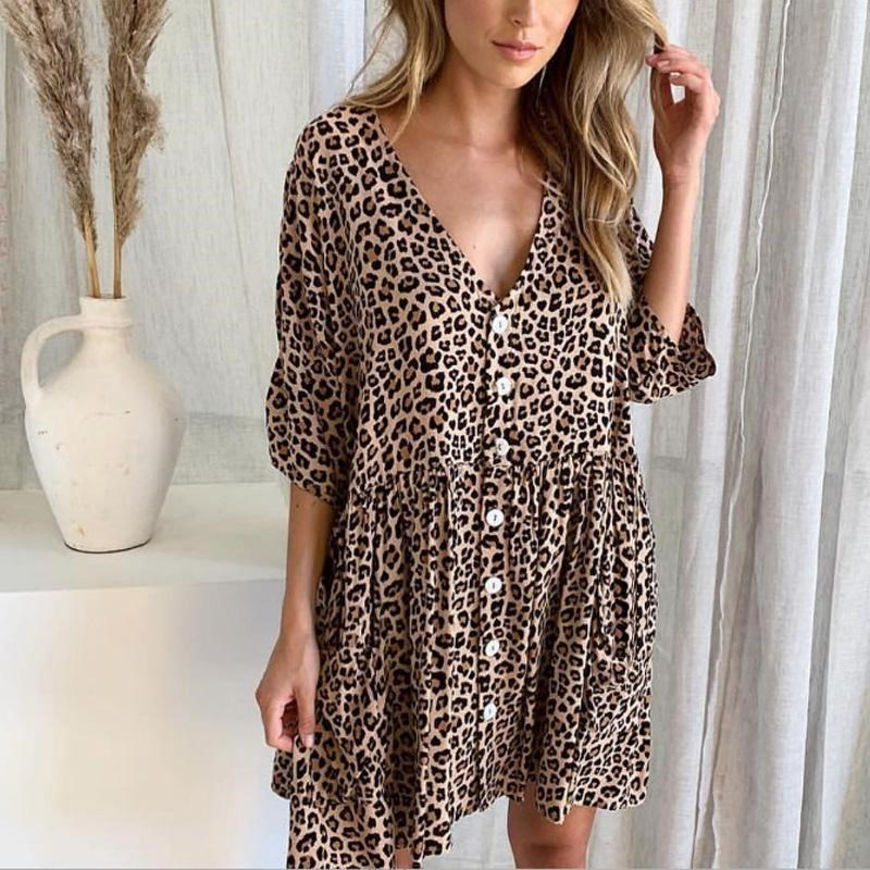 Women V Neck Leopard Print Mini Dress Fashion Half Sleeve Button Summer Dress Casual Pocket Loose Beach Party Dresses in Dresses from Women 39 s Clothing