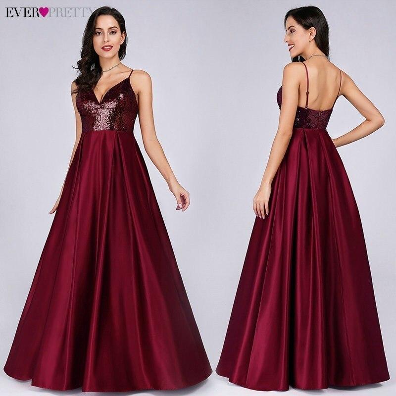 Ever Pretty Burgundy A-line Sleeveless V-neck Satin Long Evening Dresses Sexy 2019 New Arrival Sexy Abiye Gece Elbisesi