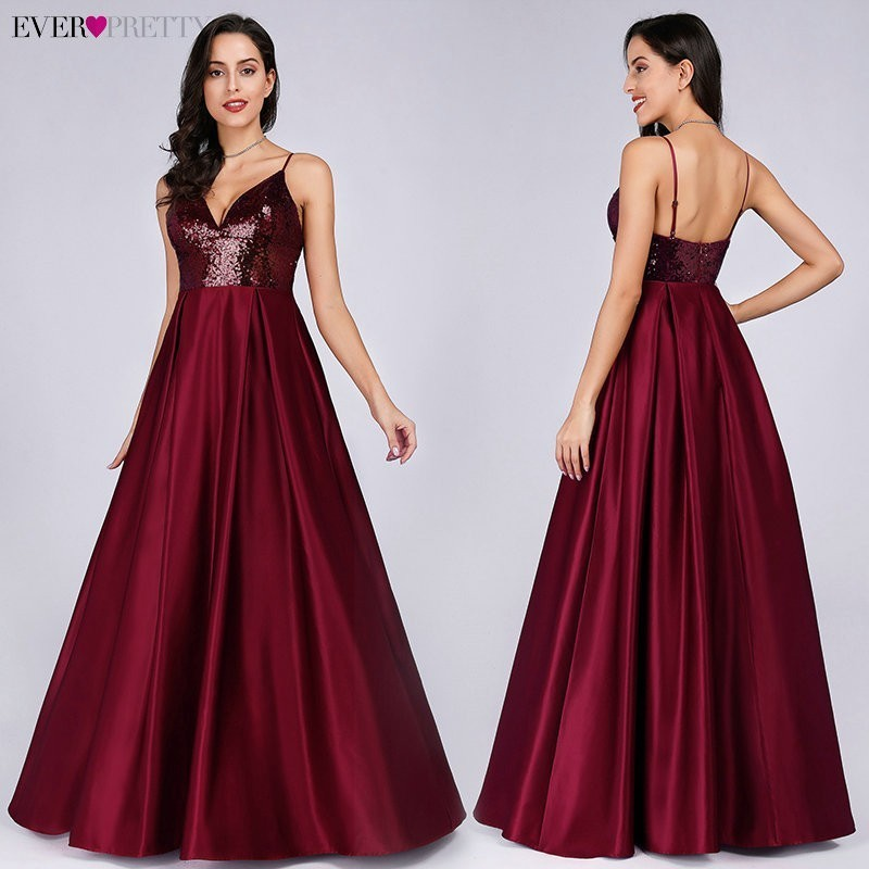Ever Pretty Burgundy A-line Sleeveless V-neck Satin Long   Evening     Dresses   Sexy 2019 New Arrival Sexy Abiye Gece Elbisesi