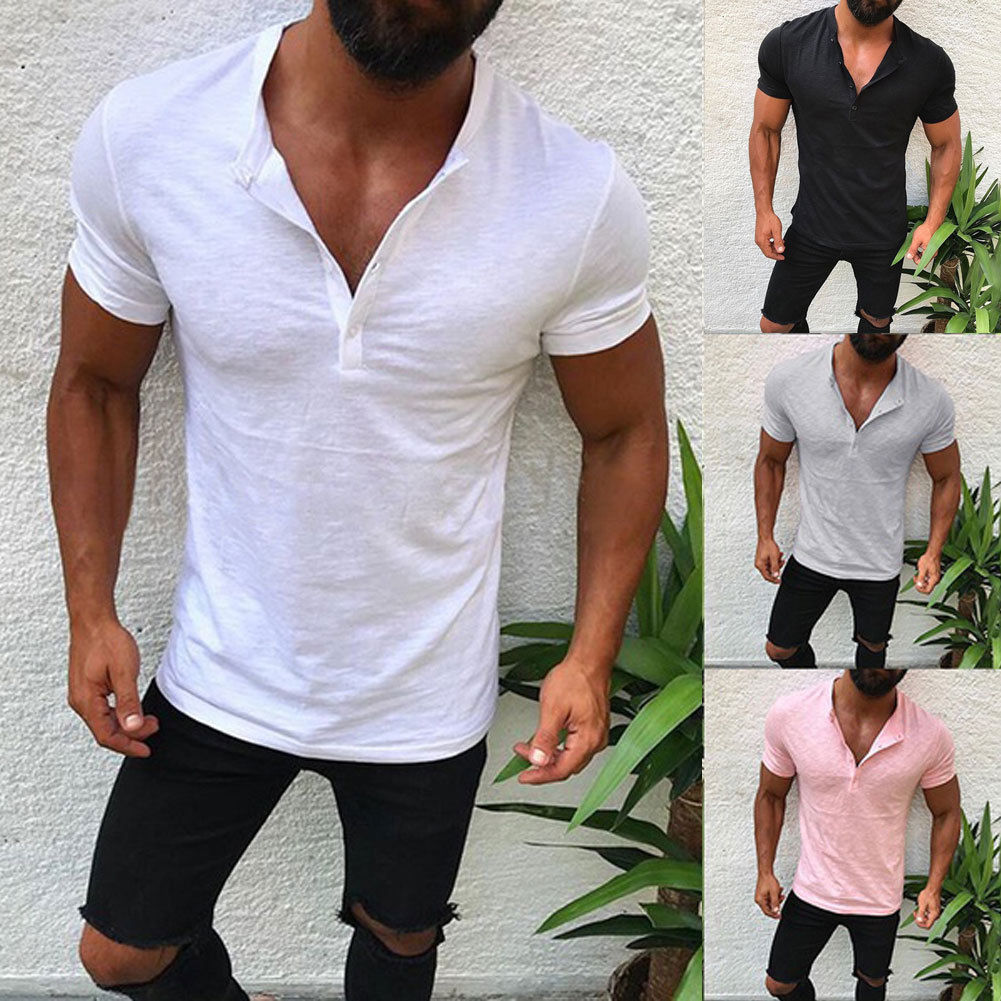 Cool Mens Summer Cotton Linen T-Shirt Tops Casual Loose V-Neck Short Sleeve Black White Gray Pink Cool Summer Casual T-shirts