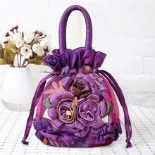 Women Tote Handbag Drawstring Lace Flower Pouch Storage Bucket Vintage Ethnic Top Handle Causal