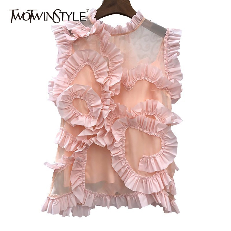 TWOTWINSTYLE Casual Solid Women Blouse Stand Neck Sleeveless Perspective Ruffles Loose Shirt Female Fashion Summer 2019 New