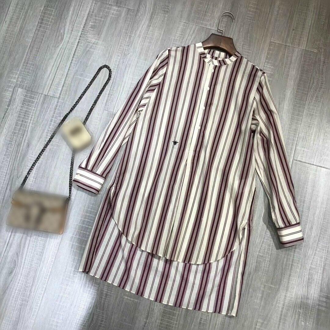 Y041 New breite casual hemd mit langen ärmeln, lange vertikale streifen, kurze vordere und lange zurück-in Blusen & Hemden aus Damenbekleidung bei  Gruppe 2