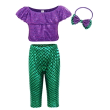 AmzBarley Little Girls Mermaid Costume Sequined Ruffle Sleeve Two-Piece Set With Headband Bathing Suit Outfit