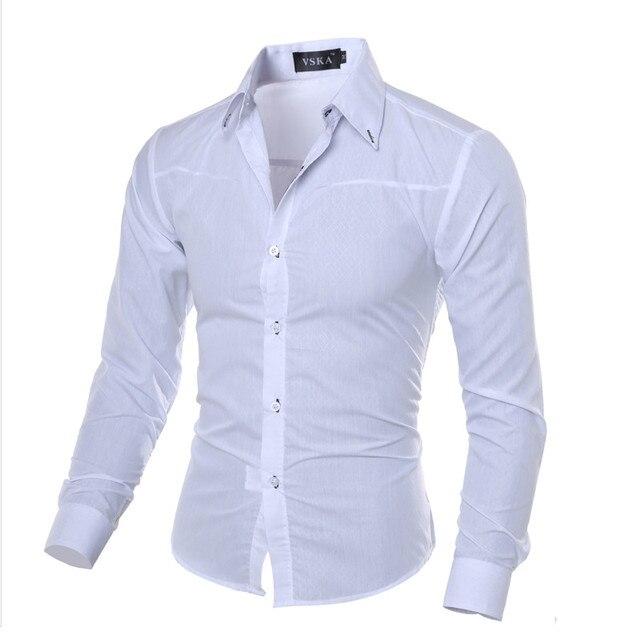2aee29092 5XL زائد حجم العلامة التجارية ملابس القطن ملابس رجالي الصلبة لينة الرجال  قميص ملابس رجالية بكم