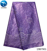 LIULANZHI african bazin riche fabric purple best quality cotton getzner for patchwork with rhinestone 19B79