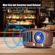 Vintage Radio Retro Bluetooth Speaker - Walnut Wooden Fm Radio, Strong Bass Enhancement, Loud Volume, 4.2 Aux Tf Car