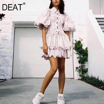 DEAT 2020 new summer fashion turn-down collar puff sleeves lace hollow out single breasted cake dresses female WF79511L