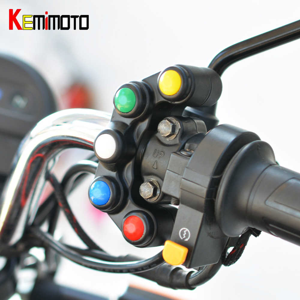 Kemimoto Universal 5 Tombol Array Motor Switch Balap Sepeda Trail 22 Mm Stang Switch Perakitan Menangani Bar Switch
