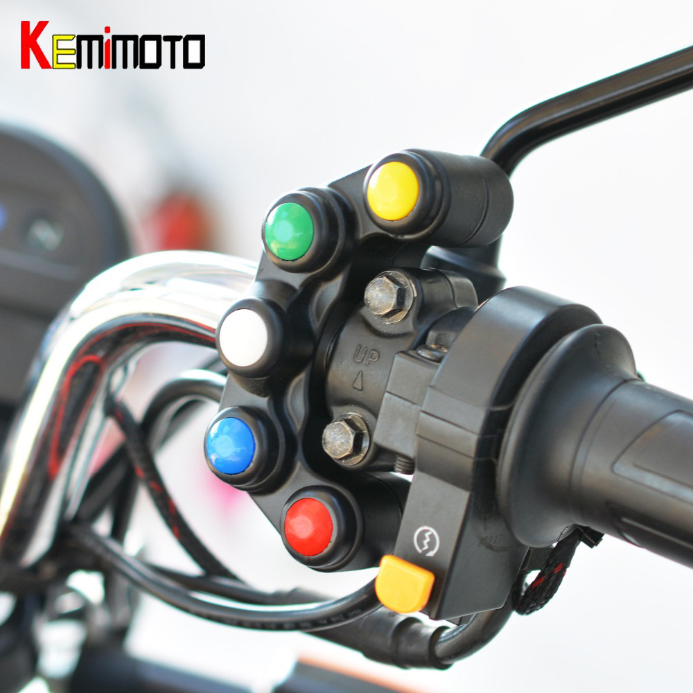 KEMiMOTO Universal 5 Button Array Motorcycle Switches Race Bikes Motorcross 22mm Handlebar Switches Assembly Handle Bar Switch