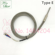 Armored Thermocouple Type E Temperature Sensor Bendable Probe 3mm*30mm High Strength Stainless Steel Braided Wire 2 Meter