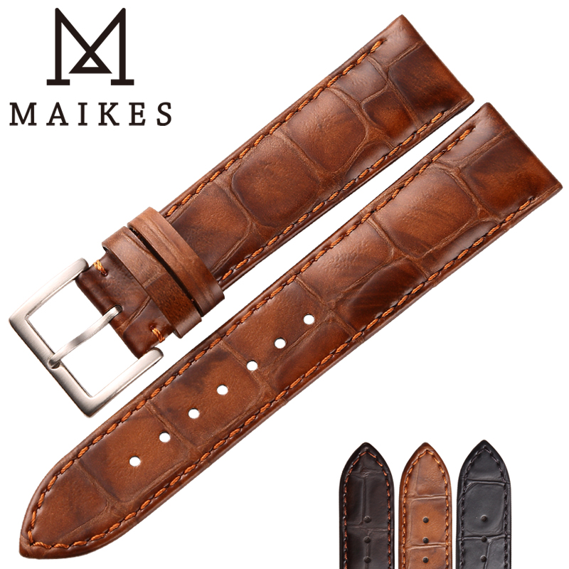 MAIKES Genuine Leather Strap watchband Watch Accessories Watchbands 18mm 19mm 20mm 22mm Light Brown Watch Bracelets Band интерактивная игрушка beezeebee сова от 1 года разноцветный вее019