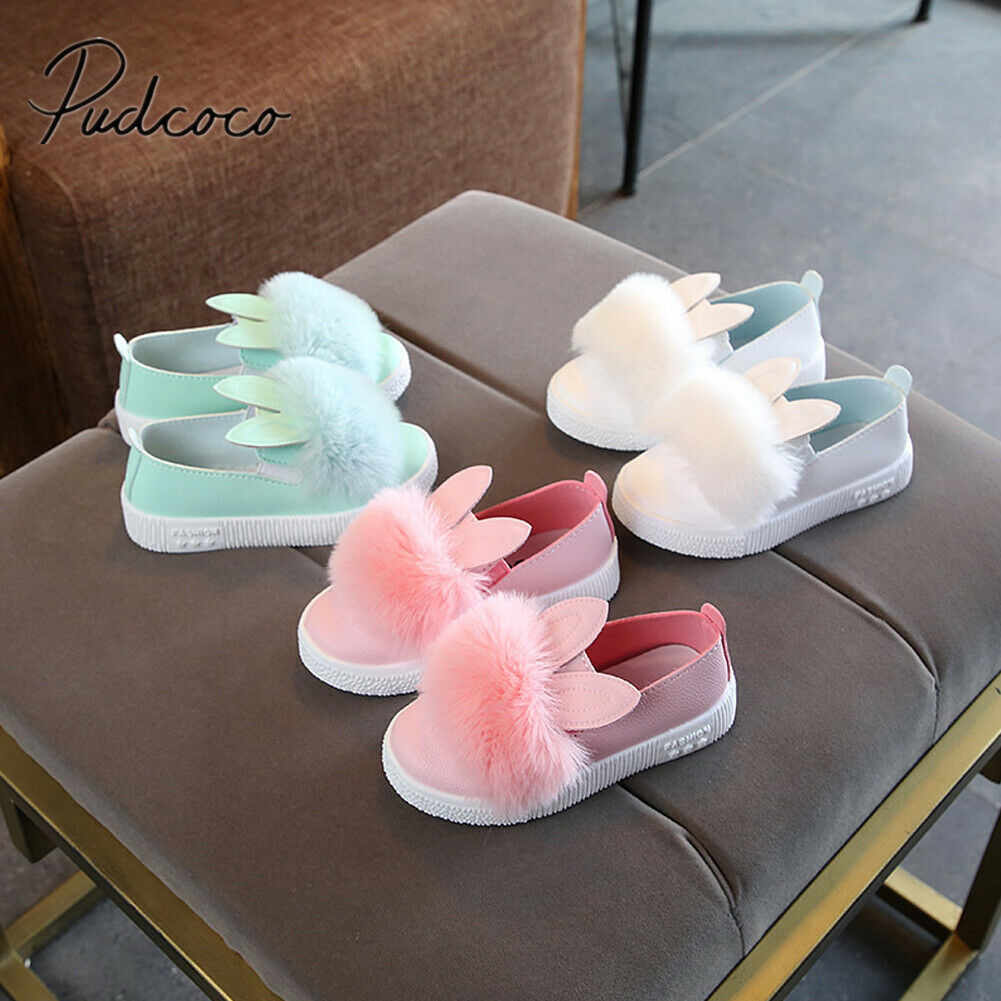 2019 Baby First Walkers Princess Infant Kid Baby Girls Rabbit Casual Shoes Solid Anti-slip Soft Sole Fluffy Furry Baby Shoes