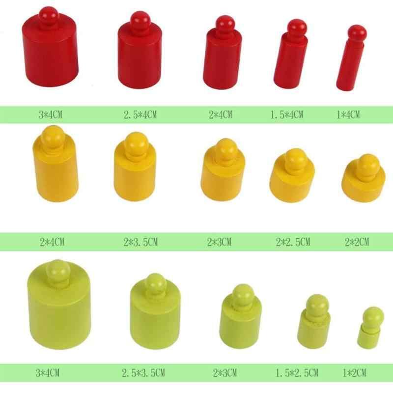 Kids Montessori Speelgoed Kleurrijke Socket Cilinder Set Beukenhout Multicolor Blok Vroege Educatief Wiskunde Onderwijs Speelgoed Kinderen Gift