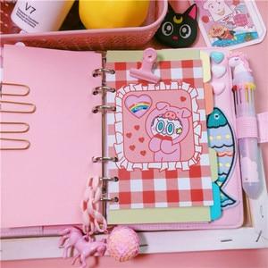 Image 2 - JUGAL Korean Pink Girl Heart Loose leaf Book DIY Weekly Plan Notebook 2019 Macaron Minimalist Plan School Office Stationery Gift