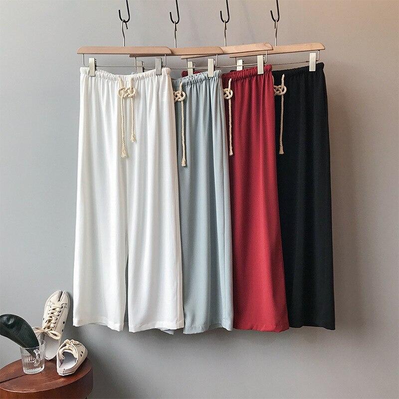 Summer Drawstring Women   Wide     Leg     Pants   High Waist Red White Black Blue Loose   Pants