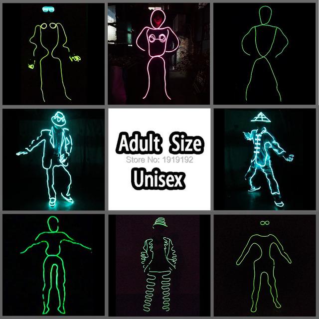 EL Suits 2019 New Fashion EL/LED Clothes Luminous Costumes Glowing Gloves Shoes Light Clothing Men EL Masks Clothe Party Dance