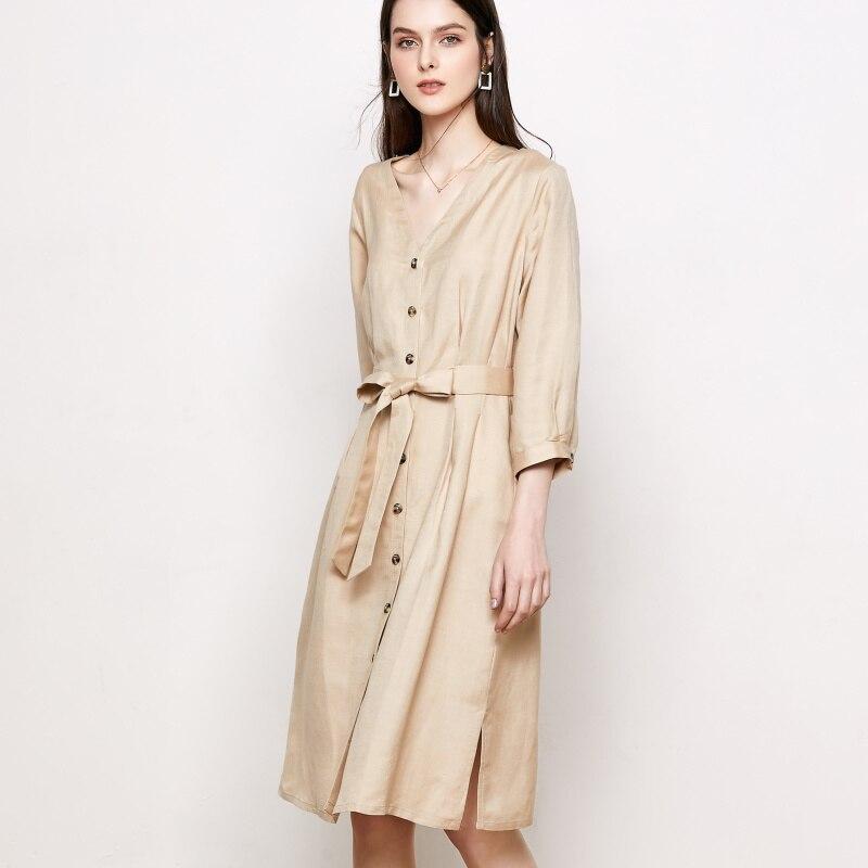 Vestido de seda 55% Lino 45% rayón vestidos de oficina para mujer cuello en V 2019 vestido hasta la rodilla de color caqui-in Vestidos from Ropa de mujer    2