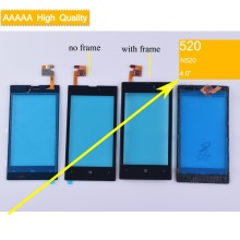 10Pcs/lot For Nokia Lumia 520 N520 Touch Screen Touch Panel Sensor Digitizer Front Glass Outer Lens Touchscreen With Frame