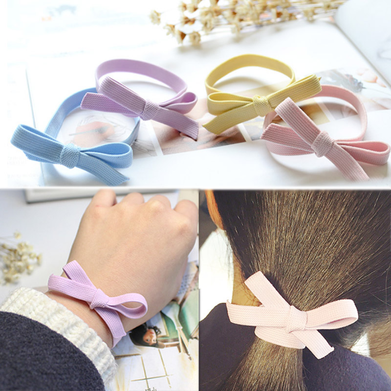 Fashion trend candy color hair rope girl bow elastic hair band ponytail rubber band scrunchie hair turban accessories mujer