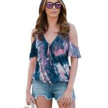 Women Shirts Summer V Neck Short Sleeve Off Shoulder Top Tie-Dye Print Female Bell Sleeve Loose Plus Size Tops off the shoulder bell sleeve top