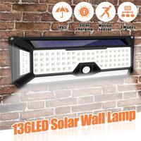 136 LED 1300LM Solar Light PIR Motion Sensor Security Light Outdoor Garden Garage Yard Gate Waterproof Solar Wall Lamp