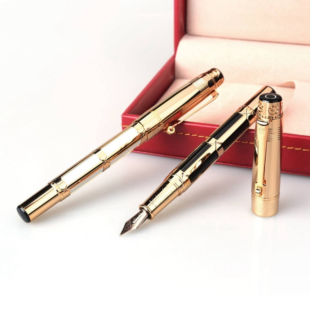 High Quality Luxury Business Fountain Pen Ink Pen Nib 0.5mm Nobility Dolma Kalem 10K Gold Gift With Box Signature Pen 03824High Quality Luxury Business Fountain Pen Ink Pen Nib 0.5mm Nobility Dolma Kalem 10K Gold Gift With Box Signature Pen 03824