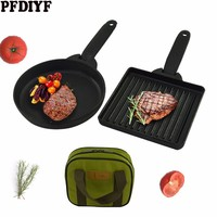2Pcs Outdoor Cast Iron Frying Pan With Bag Mini Non stick Pans Uncoated Barbecue Pot Fried Egg Fried Steak Home Baking Pan Set